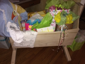 Baby L's cradle and presents