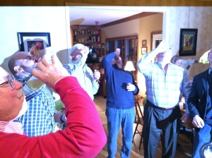 Classic: grown men chugging beer from a baby bottle