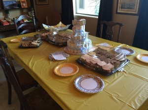 Food spread and diaper cake!